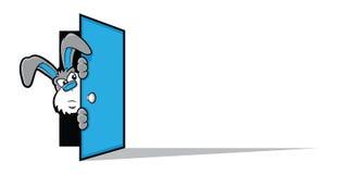 Cartoon Rabbit Opening a Door Stock Photo