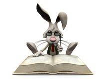 Cartoon rabbit reading big book. Stock Image