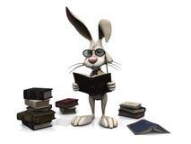 Cartoon rabbit reading a book. stock illustration