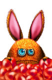 Cartoon rabbit with red easter eggs Royalty Free Stock Images