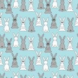 Cartoon rabbit repetitions. Cute grey and white little rabbits Stock Photos