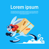 Cartoon Rabbit Running Carry Boxes Fast Delivery Service Banner With Copy Space. Flat Vector Illustration Stock Photography