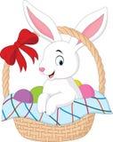 Cartoon rabbit sitting in a bucket. Illustration of Cartoon rabbit sitting in a bucket Royalty Free Stock Photos