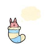 Cartoon rabbit in sock Royalty Free Stock Photography