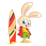 Cartoon rabbit surfer. Vector illustration of white bunny standing with Stock Photos