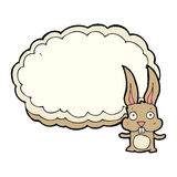 cartoon rabbit with text space cloud Stock Image