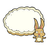 cartoon rabbit with text space cloud Royalty Free Stock Image