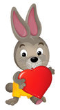 Cartoon rabbit with a valentine heart Stock Image
