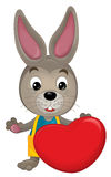 Cartoon rabbit with a valentine heart Royalty Free Stock Photos