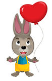 Cartoon rabbit with a valentine heart Stock Images