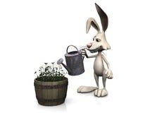 Cartoon rabbit watering flowers. Royalty Free Stock Image