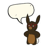 Cartoon rabbit wearing spectacles with speech bubble Royalty Free Stock Photos