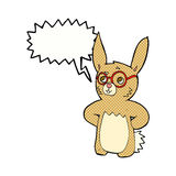 Cartoon rabbit wearing spectacles with speech bubble Stock Photo