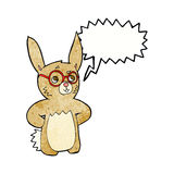 Cartoon rabbit wearing spectacles with speech bubble Royalty Free Stock Photo