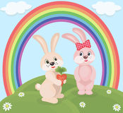 Cartoon rabbits Stock Images