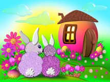 Cartoon rabbits Stock Photos