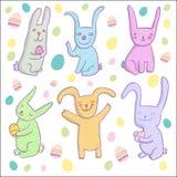 Cartoon rabbits. Cute cartoon smiling rabbits set Stock Photo