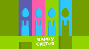 Cartoon Rabbits Eggs Shape Happy Easter Holiday Colorful Greeting Card Banner Royalty Free Stock Photos