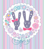 Cartoon rabbits in love. Royalty Free Stock Photos