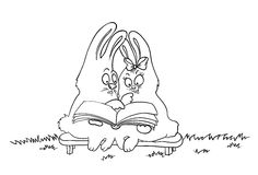 Cartoon rabbits read a book, vector illustration Stock Photography