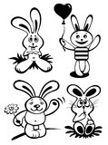 Cartoon rabbits set Stock Photo