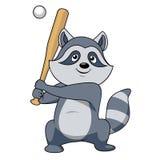 Cartoon raccoon baseball player character Stock Photography