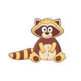 Cartoon raccoon. Cute cartoon animal. Stuffed raccoon. Vector plush toy isolated on white background Stock Images