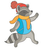 Cartoon raccoon  fun runs Stock Photography