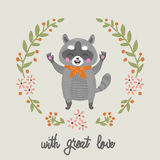 Cartoon raccoon with great love. Vector. Stock Images