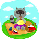 Cartoon raccoon picnic Stock Photo