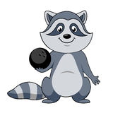 Cartoon raccoon player with bowling ball Royalty Free Stock Photography