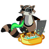 Cartoon raccoon washes clothes on a white background Stock Photography