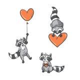 Cartoon  raccoons set. Stock Images