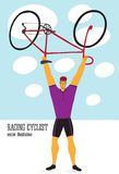 Cartoon racing cyclist. Racing cyclist champion holding a bicycle. Editable vector illustration Stock Images