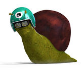 Cartoon Racing Snail. Funny snail with shell and Clipping Path over white Stock Image