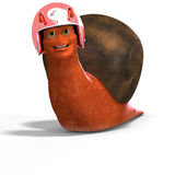 Cartoon Racing Snail. Funny snail with shell and Clipping Path over white Royalty Free Stock Image