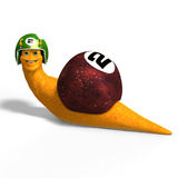 Cartoon Racing Snail. Funny snail with shell and Clipping Path over white Royalty Free Stock Photos