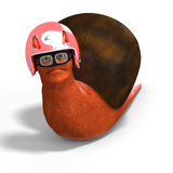 Cartoon Racing Snail. Funny snail with shell and Clipping Path over white Stock Images