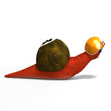 Cartoon Racing Snail. Funny snail with shell and Clipping Path over white Stock Photo