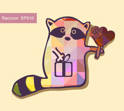 Cartoon racoon with flower Stock Images