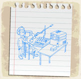 Cartoon radio on paper note, vector illustration Stock Image