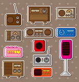 Cartoon radio stickers Royalty Free Stock Photography