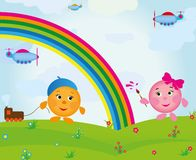 Cartoon rainbow Royalty Free Stock Photo
