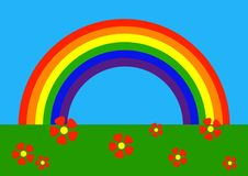 Cartoon: rainbow. Simple vector drawing of rainbow stock illustration