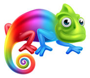 Free Cartoon Rainbow Chameleon Royalty Free Stock Image - 64473396