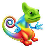 Cartoon rainbow chameleon. Illustration of a cartoon rainbow chameleon mascot standing with his hand out Royalty Free Stock Photo