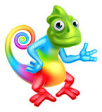 Cartoon Rainbow Chameleon Royalty Free Stock Images