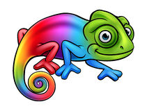 Cartoon Rainbow Chameleon Stock Image