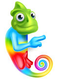 Cartoon Rainbow Chameleon Pointing Royalty Free Stock Photo