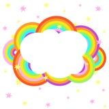 Cartoon rainbow cloud with stars design template